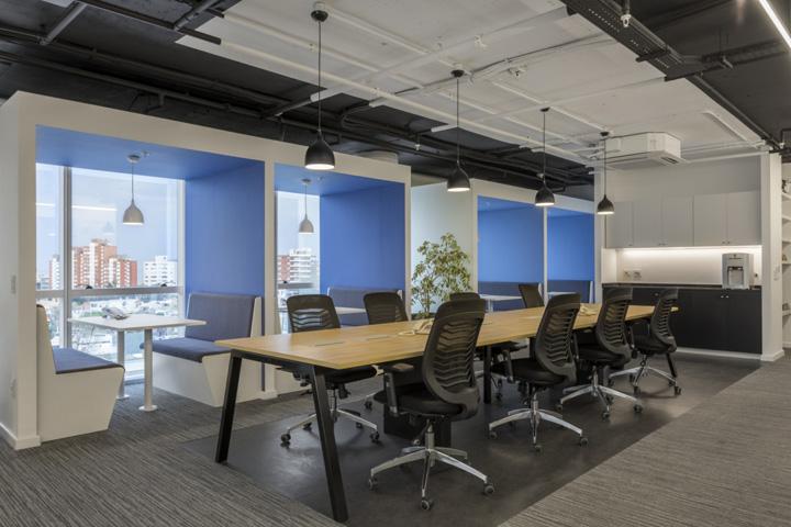 传媒公司开放式办公区布置实景图